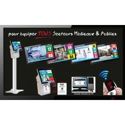 PACK PublicBOX TV5 - Gestion d'attente pour SERVICES PUBLICS, configurable de 1 à 5 Postes - Ecran TV NON Fourni