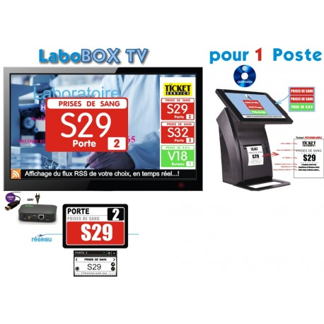 PACK LaboBOXTV4-MT de gestion d'attente pour LABORATOIRES, configurable de 1 à 4 Box - Ecran TV NON Fourni