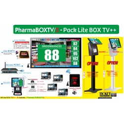 PACK PharmaBOXTV/5 - Gestion d'attente pour PHARMACIES, configurable de 1 à 5 Caisses - Ecran TV NON Fourni