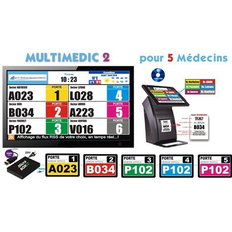 PACK Multimedic 1 de gestion d'attente pour services médicaux configurable de 1 à 4 Caisses - Ecran TV NON Fourni