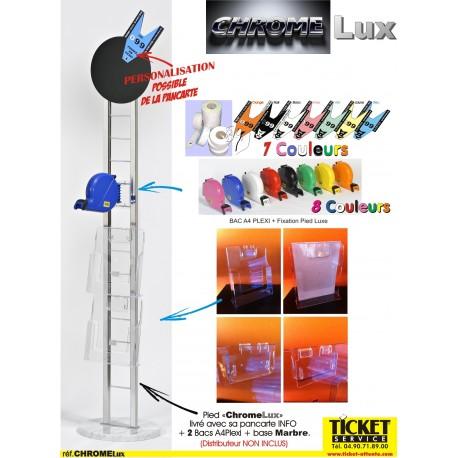 """Pied mobile chromé, """"CHROMELux"""" pour Distributeur Tickets + Socle en Marbre + 2 Supports A4 Plexi (livré avec sa pancarte info)"""