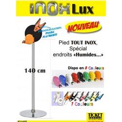 """Pied mobile TOUT INOX (140 cm), """"INOXLux"""" pour Distributeur Tickets (livré avec sa pancarte info)"""