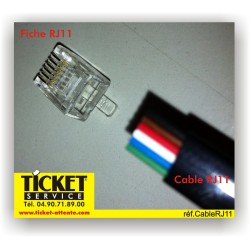 Cable RJ11 pour système file d'attente - vendu au METRE LINEAIRE