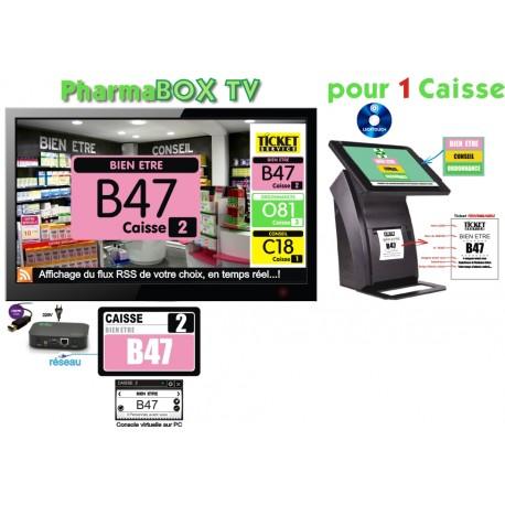 PACK PharmaBOXTV-MT/4 de gestion d'attente pour PHARMACIES, configurable de 1 à 4 Caisses - Ecran TV NON Fourni