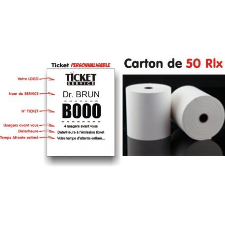 Carton de 50 rouleaux thermique pour impression de tickets