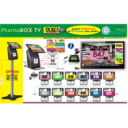 PACK PharmaBOXTV-MT/4 de gestion d'attente pour PHARMACIES, configurable de 1 à 4 Caisses - Ecran TV NON Fourni