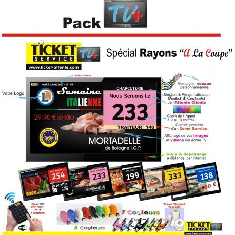 PACK TV - Gestion des files d'Attente clients pour Commerces Alimentaires - Ecran TV NON Fourni