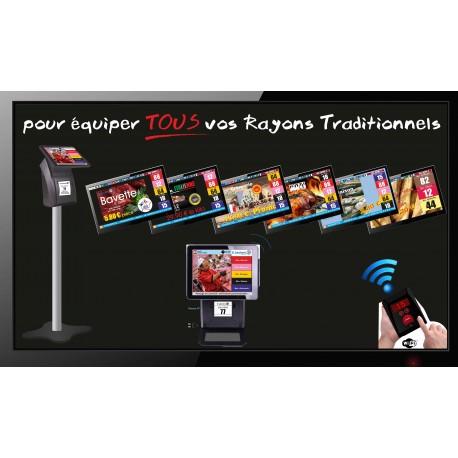 PACK TV++ - Gestion d'attente Clients configurable jusqu'à 5 Rayons - Ecran TV NON Fourni